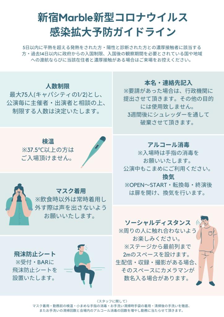 新宿Marble 新型コロナウイルス 感染対策ガイドライン